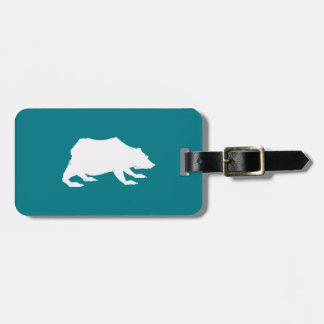 Playfully Elegant Hand Drawn White Actionable Bear Luggage Tag