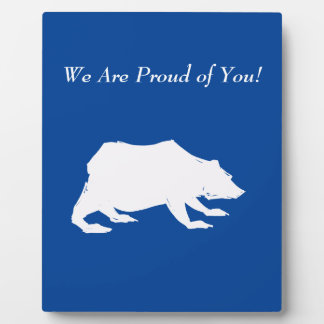 Playfully Elegant Hand Drawn White Actionable Bear Plaque