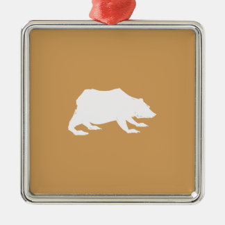 Playfully Elegant Hand Drawn White Actionable Bear Silver-Colored Square Decoration