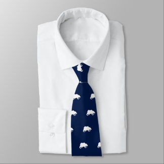 Playfully Elegant Hand Drawn White Actionable Bear Tie