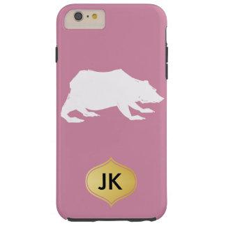 Playfully Elegant Hand Drawn White Actionable Bear Tough iPhone 6 Plus Case