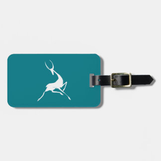 Playfully Elegant Hand Drawn White Gazelle Bag Tag