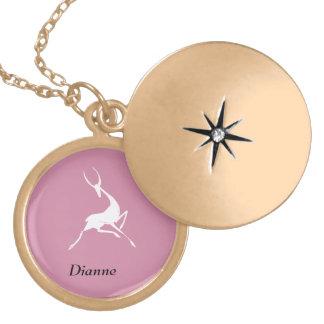 Playfully Elegant Hand Drawn White Gazelle Locket Necklace