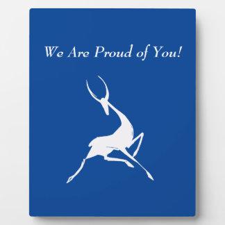 Playfully Elegant Hand Drawn White Gazelle Plaque