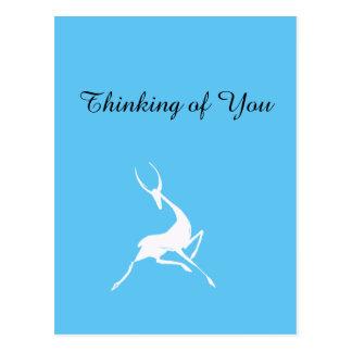 Playfully Elegant Hand Drawn White Gazelle Postcard