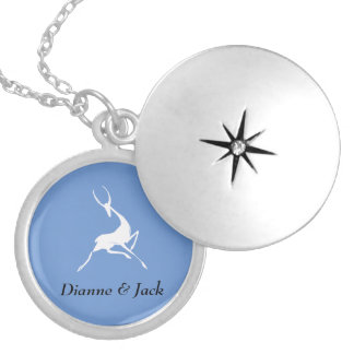 Playfully Elegant Hand Drawn White Gazelle Silver Plated Necklace