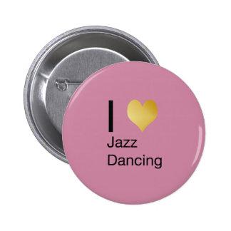 Playfully Elegant I Heart Jazz Dancing 6 Cm Round Badge