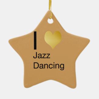 Playfully Elegant I Heart Jazz Dancing Ceramic Ornament