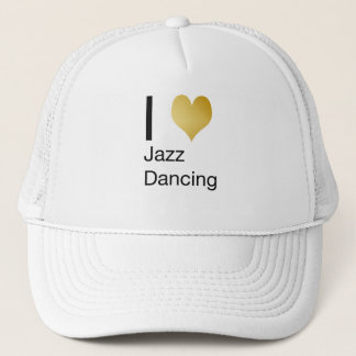 Playfully Elegant I Heart Jazz Dancing Trucker Hat
