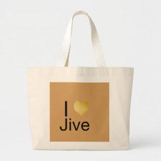 Playfully Elegant I Heart Jive Large Tote Bag