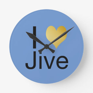 Playfully Elegant I Heart Jive Round Clock