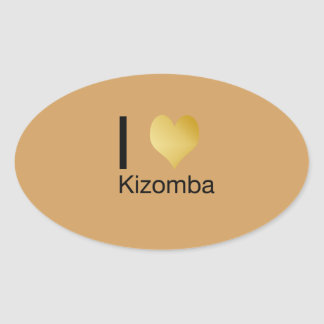 Playfully Elegant I Heart Kizomba Oval Sticker