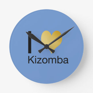 Playfully Elegant I Heart Kizomba Round Clock