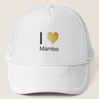Playfully Elegant I Heart Mambo Trucker Hat