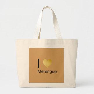 Playfully Elegant I Heart Merengue Large Tote Bag