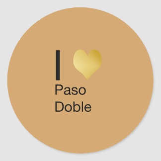 Playfully Elegant I Heart  Paso Doble Classic Round Sticker