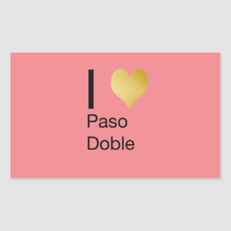 Playfully Elegant I Heart  Paso Doble Rectangular Sticker