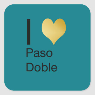 Playfully Elegant I Heart  Paso Doble Square Sticker