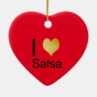 Playfully Elegant I Heart Salsa Ceramic Ornament