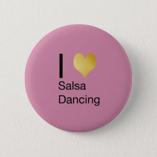 Playfully Elegant I Heart Salsa Dancing 6 Cm Round Badge