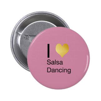 Playfully Elegant I Heart Salsa Dancing 6 Cm Round Badge