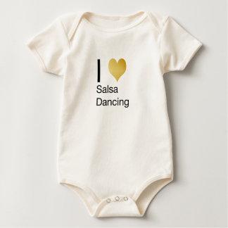 Playfully Elegant I Heart Salsa Dancing Baby Bodysuit