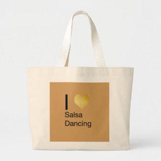 Playfully Elegant I Heart Salsa Dancing Large Tote Bag