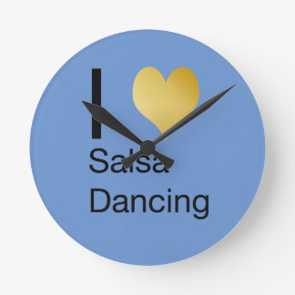 Playfully Elegant I Heart Salsa Dancing Round Clock