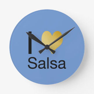 Playfully Elegant I Heart Salsa Round Clock