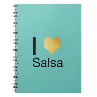 Playfully Elegant I Heart Salsa Spiral Notebook