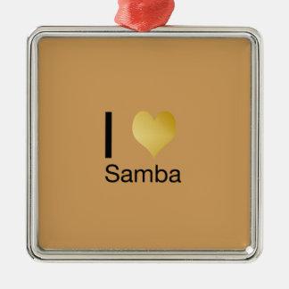 Playfully Elegant I Heart Samba Metal Ornament