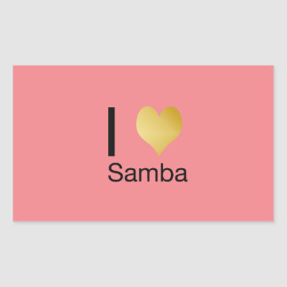 Playfully Elegant I Heart Samba Rectangular Sticker