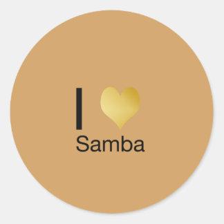Playfully Elegant I Heart Samba Round Sticker