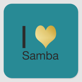 Playfully Elegant I Heart Samba Square Sticker