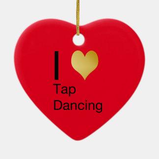 Playfully Elegant  I Heart Tap Dancing Ceramic Ornament