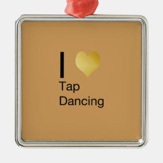 Playfully Elegant  I Heart Tap Dancing Metal Ornament