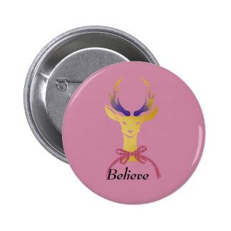 Playfully Preppy Gold Deer Antler 6 Cm Round Badge