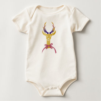 Playfully Preppy Gold Deer Antler Monogram Baby Bodysuit