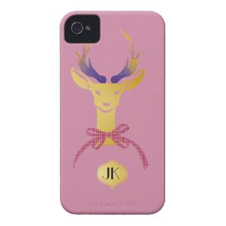 Playfully Preppy Gold Deer Antler Monogram iPhone 4 Case-Mate Case