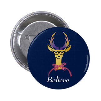 Playfully Preppy Gold Deer with Glasses 6 Cm Round Badge