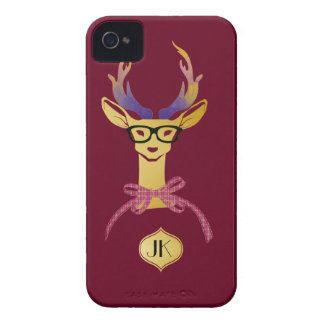 Playfully Preppy Gold Deer with Glasses iPhone 4 Case-Mate Cases