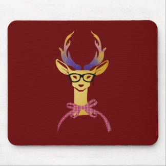 Playfully Preppy Gold Deer with Glasses Mouse Pad