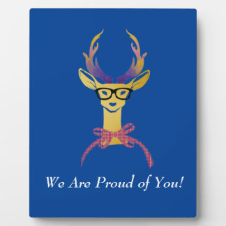 Playfully Preppy Gold Deer with Glasses Plaque