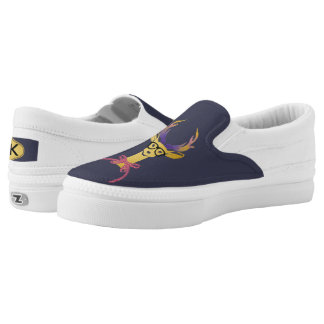 Playfully Preppy Gold Deer with Glasses Printed Shoes
