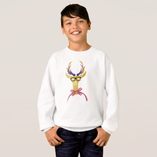 Playfully Preppy Gold Deer with Glasses Sweatshirt