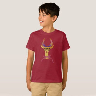Playfully Preppy Gold Deer with Glasses T-Shirt