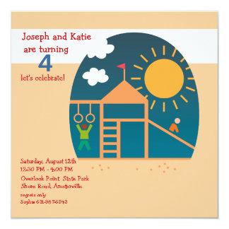 "Playground Birthday Party Invitation 5.25"" Square Invitation Card"