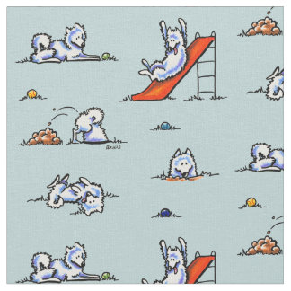 Playground Samoyeds Touch of Teal Fabric