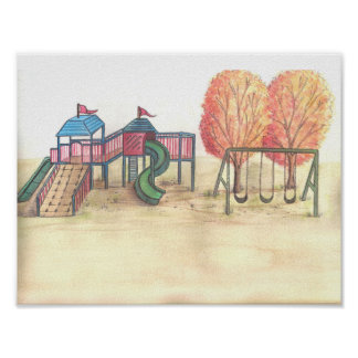 Playground watercolor art print poster