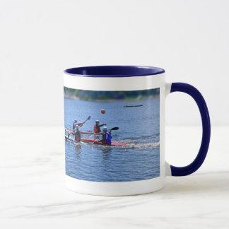 playing a water game, mug